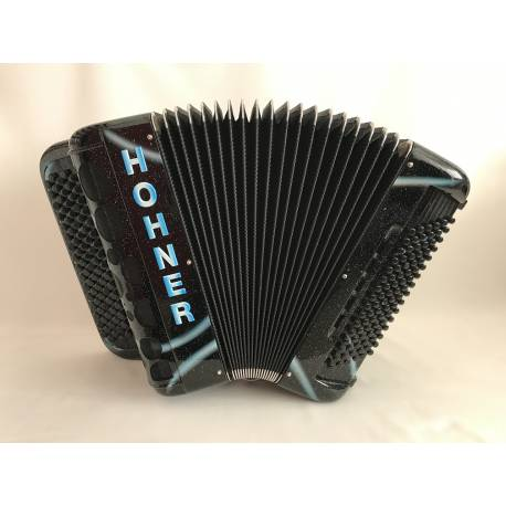 Hohner Fun Power 96B, Black, Glitter, Light-Blue Tag, Bubbles Grille
