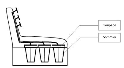 Vue en coupe d'un accordéon